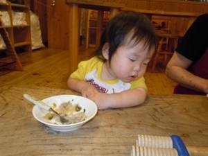 食事中に眠たくなっちゃった。