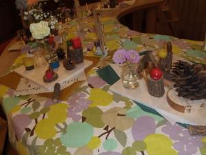 親子で木や小枝、木の実、ウッドビーズ、ガラスの小瓶を取ったり付けたりしながら制作しました。家族からの素敵なメッセージも添えられています。